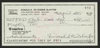 Deke Slayton Signed Personal Bank Check (PSA COA)