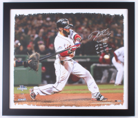 6d2fc0f65ec Dustin Pedroia Signed LE Red Sox 25x28.75 Custom Framed Print on Canvas  Display with