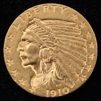 1910 $2.5 Indian Head Quarter Eagle Gold Coin