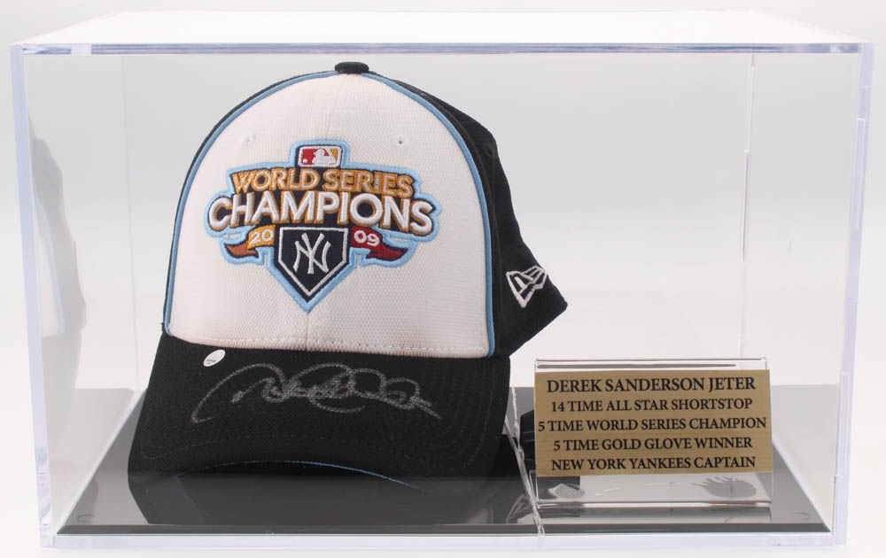 6297a3a6 Derek Jeter Signed 2009 World Series Champions Hat With Display Case ( Steiner & MLB Hologram