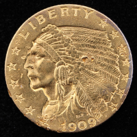1909 $2.5 Indian Head Quarter Eagle Gold Coin