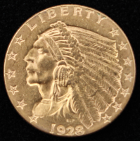 1928 $2.5 Indian Head Quarter Eagle Gold Coin at PristineAuction.com