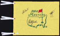 Phil Mickelson, Ben Crenshaw, & Zach Johnson Signed 2004 Masters Tournament Golf Pin Flag (JSA COA)