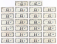 Lot of (26) 1953-1957 U.S. Blue Seal Silver Certificate Notes with (25) $1 One Dollar Notes & (1) $5 Five Dollar Note