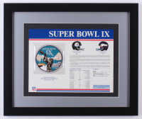 Super Bowl IX Commemorative 16x19 Custom Framed Score Card Display with Patch