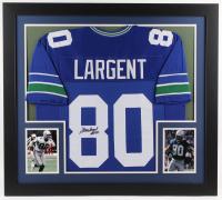 """Steve Largent Signed Seahawks 31x35 Custom Framed Jersey Inscribed """"HOF 95"""" (JSA Hologram)"""