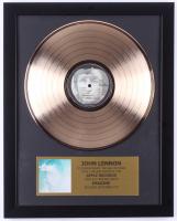 """John Lennon Custom Framed 15.75x19.5 Gold Plated """"Imagine"""" Record Album Award Display"""