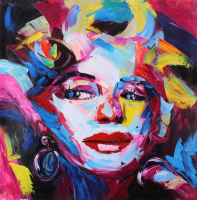 """Rodney Weng Signed Marilyn Monroe """"Hollywood Icon"""" 29.5x29.5 Original Oil Painting on Linen (PA LOA)"""