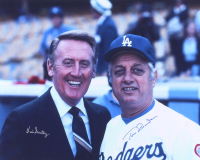Vin Scully & Tommy Lasorda Signed Dodgers 16x20 Photo (JSA ALOA)