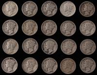 Lot of (20) Mercury Silver Dimes