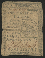 1776 One Sixth of a Dollar Continental Colonial Currency Note