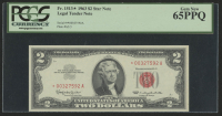 Star Note - 1963 $2 Two Dollar Red Seal U.S. Bank Note Bill (PCGS 65) (PPQ)