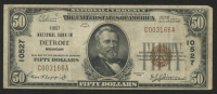 1929 $50 Fifty Dollars U.S. National Currency Bank Note with Brown Seal - First National Bank in Detroit, Michigan