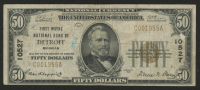 1929 $50 Fifty Dollars U.S. National Currency Bank Note with Brown Seal - First Wayne National Bank of Detroit, Michigan