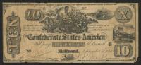 1861 $10 Ten Dollars Confederate States of America Richmond CSA Bank Note Bill - T29