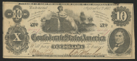 1861 $10 Ten Dollars Confederate States of America Richmond CSA Bank Note Bill - T46