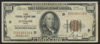 1929 $100 One Hundred Dollars U.S. National Currency Bank Note with Brown Seal (The Federal Reserve Bank of Cleveland, Ohio)