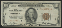 1929 $100 One Hundred Dollars U.S. National Currency Bank Note with Brown Seal (The Federal Reserve Bank of Minneapolis, Minnesota)