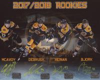 2017-18 Bruins Rookies 8x10 Photo Team-Signed by (4) With Charlie McAvoy, Jake DeBrusk, Danton Heinen & Anders Bjork (McAvoy, DeBrusk, Heinen & Bjork Hologram)