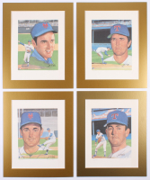 Lot Of (4) Nolan Ryan 11x17 Custom Matted LE Lithograph Signed by Original Artist Susan Rini