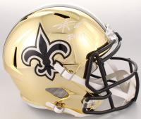 """Alvin Kamara Signed Saints Full-Size Chrome Speed Helmet Inscribed """"ROY '17"""" (Beckett COA)"""