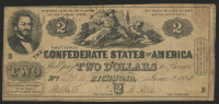 1862 $2 Two Dollars Confederate States of America Richmond CSA Bank Note