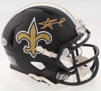 Alvin Kamara Signed Saints Custom Matte Black Speed Mini Helmet (Beckett COA)