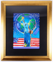 """Peter Max Signed """"Peace of Earth"""" 33.5x39.5 Custom Framed Acrylic Lithography Mixed Media On Paper (Park West Gallery COA)"""
