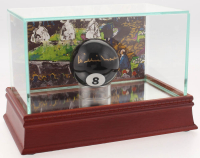 Willie Mosconi Signed #8 Pool Ball with LeRoy Neiman Display Case (PSA COA)
