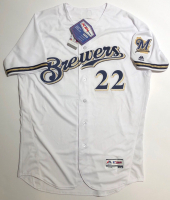 """Christian Yelich Signed Brewers Majestic Jersey inscribed """"18 NL MVP"""" (Steiner COA) at PristineAuction.com"""