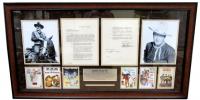 John Wayne Signed 23x43 Custom Framed Contract Display (PSA LOA)