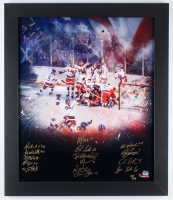 """LE Team USA """"Miracle on Ice"""" 23.5x27.5 Custom Framed Photo Display Signed by (16) with Mike Eruzione, Jack O'Callahan, Neal Broten, Jim Craig Inscribed """"Do You Believe In Miracles"""" (Fanatics Hologram) at PristineAuction.com"""