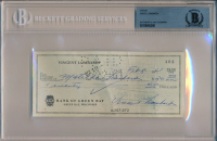 Vince Lombardi Signed Bank Check (BGS Encapsulated)