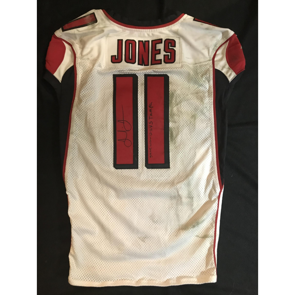 Julio Jones Signed Falcons 50th Anniversary Game Used Jersey Inscribed Game Worn 12 16 Vs Tampa With 50 Seasons Patch Mears Loa Jsa Loa Pristine Auction
