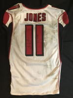 "Julio Jones Signed Falcons 50th Anniversary Game-Used Jersey Inscribed ""Game Worn 12-16 VS Tampa"" with 50 Seasons Patch (Mears LOA & JSA LOA)"