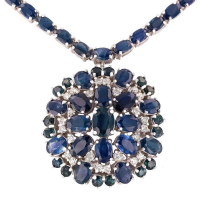 34.11ctw Blue Sapphire and 1.00ctw Diamond 14KT White Gold Necklace