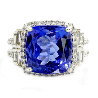 7.72ct Tanzanite and 1.36ctw Diamond 18KT White Gold Ring