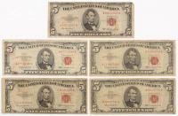 Lot of (5) 1953-1963 $5 Five Dollar Red Seal U.S. Bank Note Bills