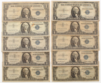 Lot of (10) 1935-1957 $1 One Dollar U.S. Silver Certificates at PristineAuction.com