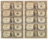 Lot of (10) 1935-1957 $1 One Dollar U.S. Silver Certificates