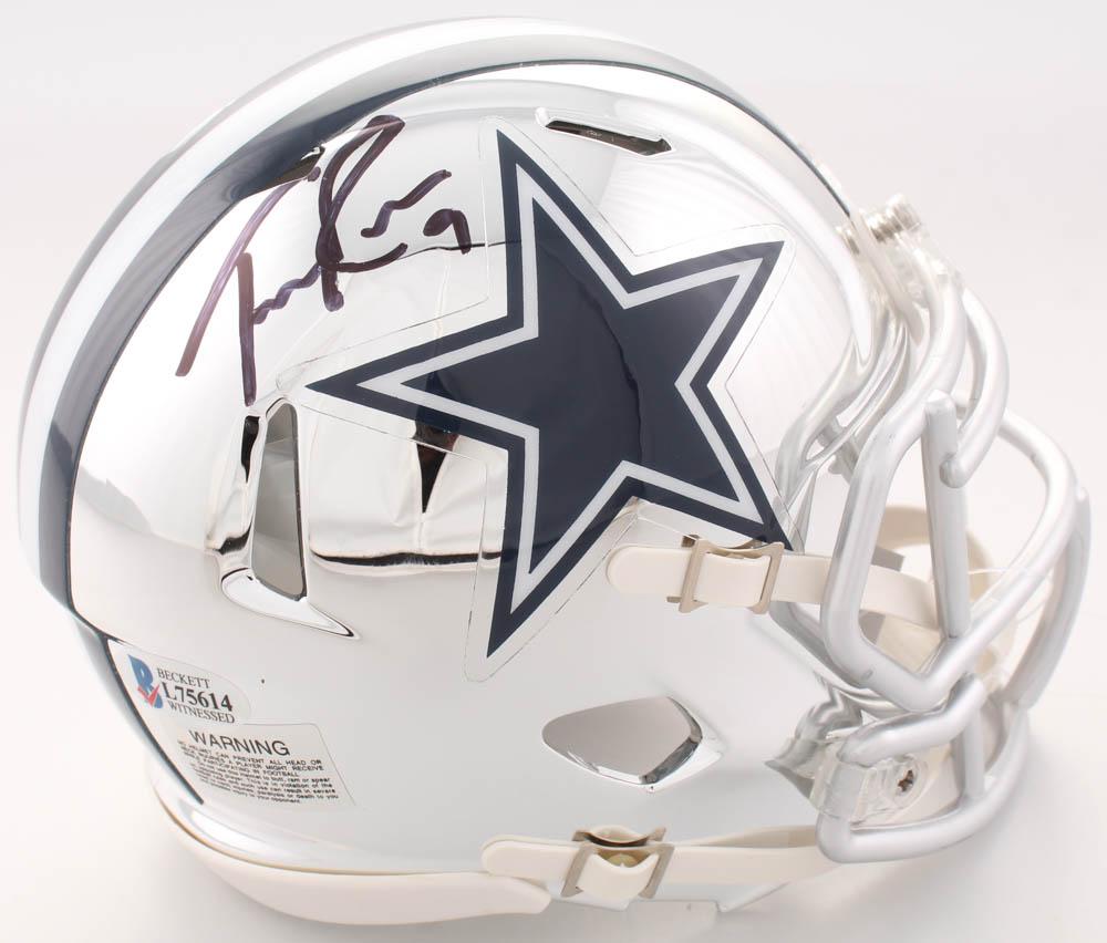 f04a1d43da9 Tony Romo Signed Dallas Cowboys Chrome Speed Mini Helmet (Beckett COA)