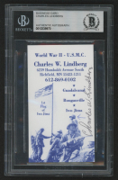 Charles W. Lindberg Signed 2x3.5 Business Card (BGS Encapsulated)
