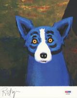 "George Rodrigue Signed ""Blue Dog: Head Over Heels"" 8x10 Art Print (PSA COA)"