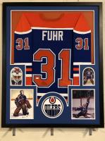 Grant Fuhr Signed Oilers 34x42 Custom Framed Jersey (JSA COA)