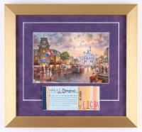 "Thomas Kinkade Disneyland ""Disneyland's 50th Anniversary"" 13x14 Custom Framed Print Display WIth Coupon Book"