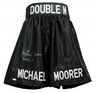"Michael Moorer Signed Boxing Trunks Inscribed ""Double M"" (JSA COA)"