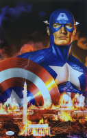 "Greg Horn Signed ""Captain America "" 11x17 Lithograph (JSA COA)"