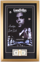 "Henry Hill Signed ""Goodfellas"" 16.5x26 Custom Framed Photo Display with Movie Replica Prop Money Inscribed ""Goodfella"" (PSA COA)"