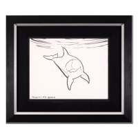 "Wyland Signed ""Dolphin"" 19x16 Custom Framed Original Sketch"