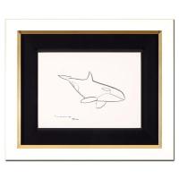 """Wyland Signed """"Orca"""" 21x17 Custom Framed Original Sketch at PristineAuction.com"""